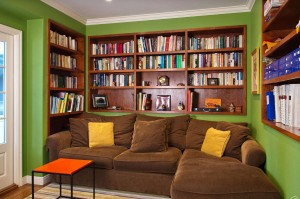 Bookshelves messy, the cushions on the sectional messy, the colors are obscene, the scale of the sectional is too big.....what is this?