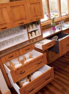 Drawers are better than doors on the bottom cabinets.  No bending and searching.  These have dividers for plates and cookware.